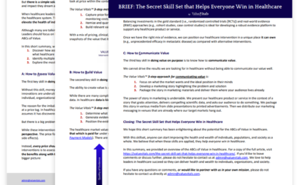 Value Vitals Download - BRIEF: The Secret Skill Set that Helps Everyone Win in Healthcare